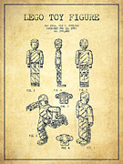 Lego Toy Figure Patent - Vintage Print by Aged Pixel