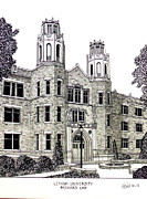College Buildings Drawings Mixed Media Originals - Lehigh University by Frederic Kohli