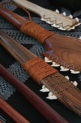 Hand Crafted Prints - Lei O Mano Hawaiian Koa Shark Teeth Dagger and War Clubs Print by Sharon Mau
