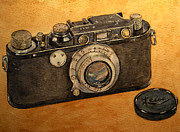 Analog Painting Posters - Leica II camera Poster by Juan  Bosco