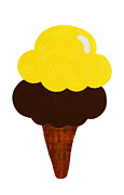 Ice Cream Illustration Posters - Lemon And Chocolate Ice Cream Poster by Andee Photography