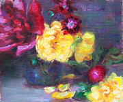 Still Life Garden Art Painting Posters - Lemon and Magenta - flowers and radish Poster by Talya Johnson