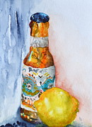 Local Food Metal Prints - Lemon and Pilsner Metal Print by Beverley Harper Tinsley