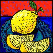 Lime Paintings - Lemon and Two Slices by Dale Moses