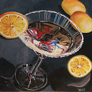 Glass Painting Prints - Lemon Drop Print by Debbie DeWitt