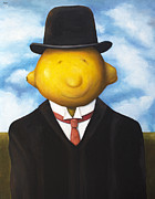 Magritte Framed Prints - Lemon Head Framed Print by Leah Saulnier The Painting Maniac