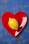 Blue Table Framed Prints - Lemon Heart Framed Print by Garry Gay