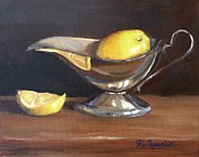 Life Paintings - Lemon in Saucer by Viktoria K Majestic