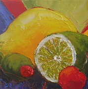 Impasto Oil Paintings - Lemon Lime and Cherry by Paris Wyatt Llanso