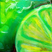 Abstraction Mixed Media Prints - Lemon Lime Print by Debi Pople
