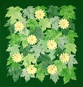 Yellow Leaves Tapestries - Textiles Posters - Lemon Lime Poster by Jean Baardsen
