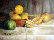 Wooden Bowl Paintings - Lemon Lime by Sharen AK Harris