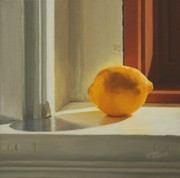 Window Sill Posters - Lemon Solo Poster by Nancy Teague