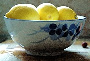 Basket Drawings Posters - Lemon Still Life Poster by Cole Black