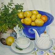 Teapot Drawings - Lemon Tea by Helen Syron