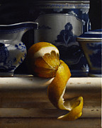 Lemon Paintings - LEMON WITH CANTON vertical by Larry Preston