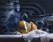 Still Life Paintings - Lemon With China  by Larry Preston