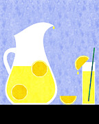 Lemon Posters - Lemonade And Glass Blue Poster by Andee Photography