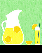 Lemon Art Posters - Lemonade And Glass Green Poster by Andee Photography