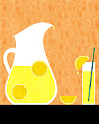 Refreshing Posters - Lemonade And Glass Orange Poster by Andee Photography