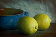 Lemon Art Photo Posters - Lemons And Blue Terracotta Pot Poster by Elena Nosyreva