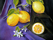 Lemon Paintings - Lemons and Flowers by Irina Sztukowski