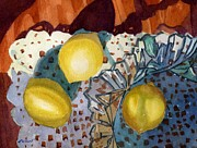 Glass Reflections Painting Framed Prints - Lemons and Glass Framed Print by Lynne Reichhart