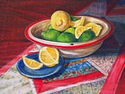 Table Cloth Drawings Metal Prints - Lemons and Limes Metal Print by Joy Nichols