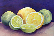 Vitamins Paintings - Lemons and Limes by Pat Vickers