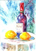 Wine Bottle Drawings - Lemons and Wine by Carol Wisniewski