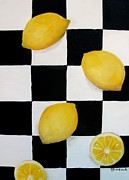 Cutting Board Posters - Lemons Poster by Carol Sweetwood
