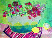 Table Cloth Mixed Media Prints - Lemons Print by Diane Fine