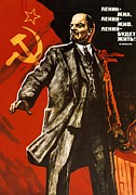 Live Art Drawings Framed Prints - Lenin lived Lenin lives Long live Lenin Framed Print by Viktor Semenovich Ivanov