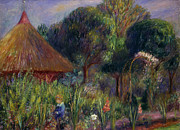 Summer House Framed Prints - Lenna by a Summer House Framed Print by William James Glackens