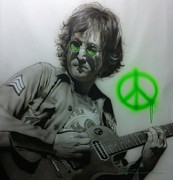 Musician Framed Paintings - Lennon by Christian Chapman Art