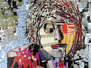 Icon Mixed Media Posters - Lennon Does Collage Poster by Brian Buckley