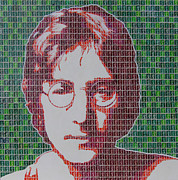 John Lennon Mixed Media Originals - Lennon in Red by Gary Hogben