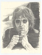 John Lennon  Drawings - Lennon in Studio by Kenneth Stock