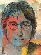 John Lennon  Drawings Metal Prints - Lennon Metal Print by Mick ODay