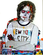 Icons Mixed Media - Lennon Uncut 2 by Brian Buckley
