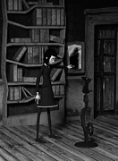 Girl Prints - Lenore and The Raven Print by Liam Liberty