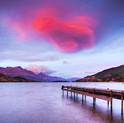 Otago Region Framed Prints - Lenticular Cloud Lake Wakatipu Queenstown New Zealand Framed Print by Colin and Linda McKie