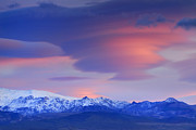 Snow Landscapes Metal Prints - lenticular clouds over Sierra Nevada National Park Metal Print by Guido Montanes Castillo