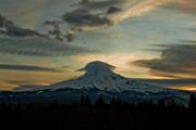 Cari Gesch Metal Prints - Lenticular Sunset on Mount Hood Metal Print by Cari Gesch