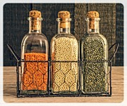 Bottle Green Posters - Lentils - Kitchen Art Poster by Edward Fielding