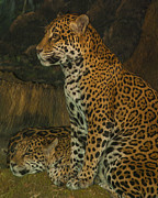 Leopard Hunting Framed Prints - Leo and Friend Framed Print by Jack Zulli