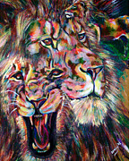 Beasts Paintings - Leo by Lovejoy Creations