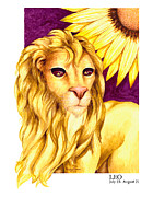 Signs Of The Zodiac Painting Metal Prints - Leo Metal Print by Michael Baum