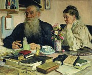 Famous Book Posters - Leo Tolstoy with his wife in Yasnaya Polyana Poster by Ilya Efimovich Repin