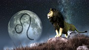 Horoscope Digital Art Prints - Leo Zodiac Symbol Print by Daniel Eskridge